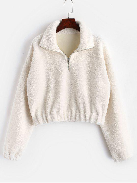 hot Half Zip Plain Faux Fur Sweatshirt - WHITE M