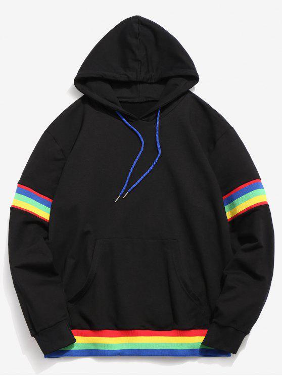 Hoodie listrado do bolso do arco-íris de ZAFUL - Preto L
