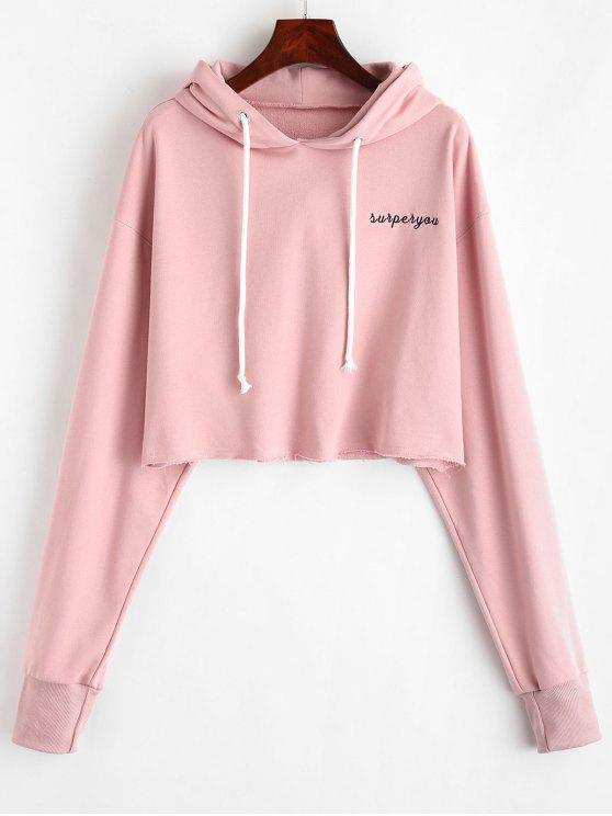 chic ZAFUL Letter Embroidered Crop Hoodie - LIGHT PINK M