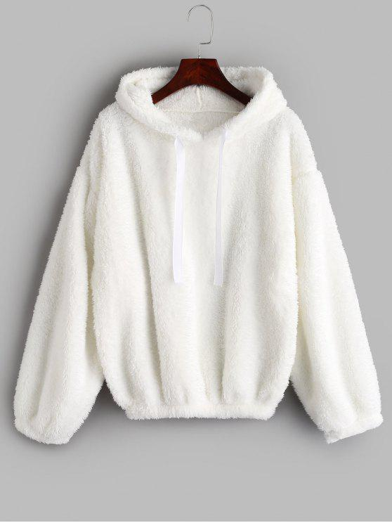 sale Drop Shoulders Faux Shearling Hoodie - WHITE ONE SIZE