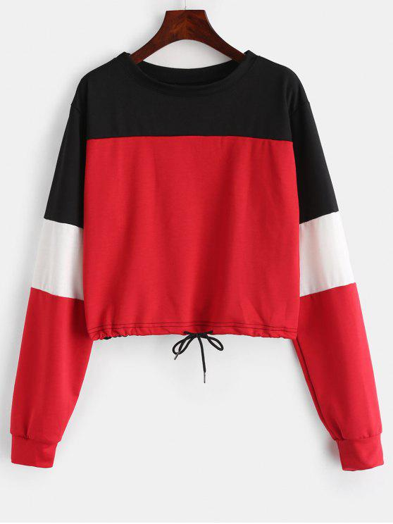 affordable Drawstring Color Block Pullover Sweatshirt - LAVA RED S