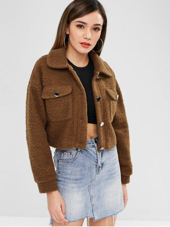 trendy ZAFUL Cropped Fluffy Winter Coat - BROWN M