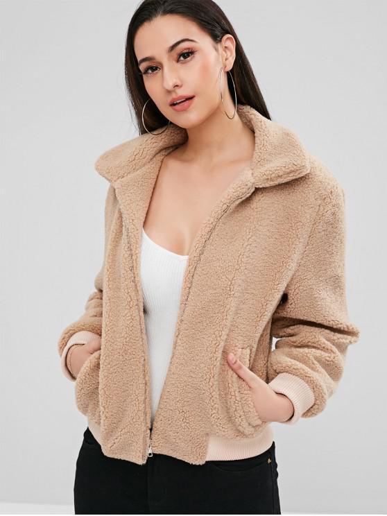 fashion ZAFUL Fluffy Faux Shearling Winter Coat - CAMEL BROWN XL
