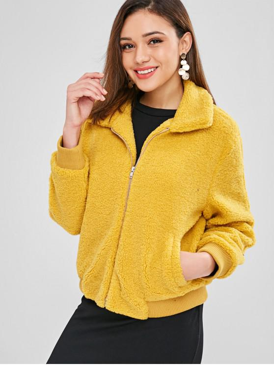 shop ZAFUL Fluffy Faux Shearling Winter Coat - MUSTARD XL