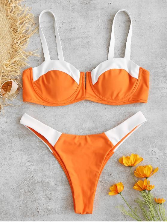ZAFUL dois Tone Underwire Balconette Bikini Set - Cor de Laranja de Halloween L