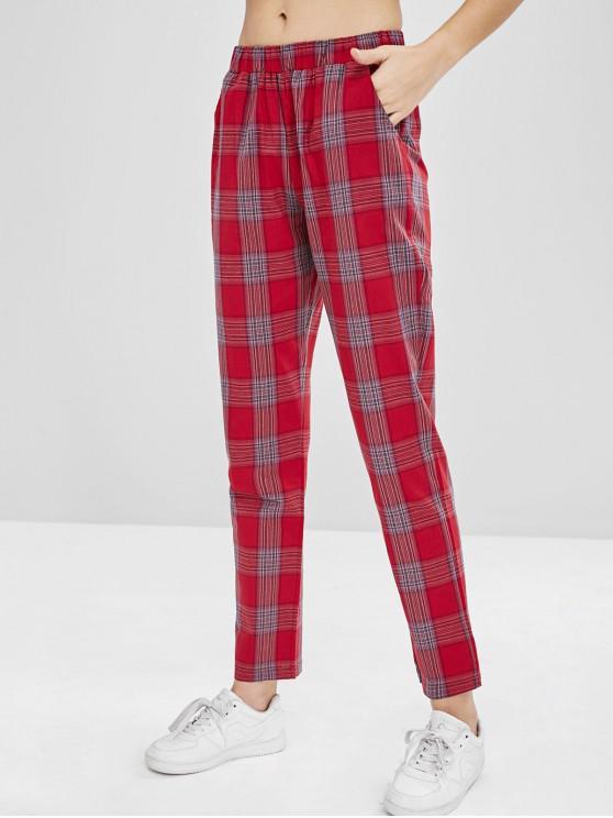 Pantalones rectos de tartán de cintura alta ZAFUL - Vino Tinto L