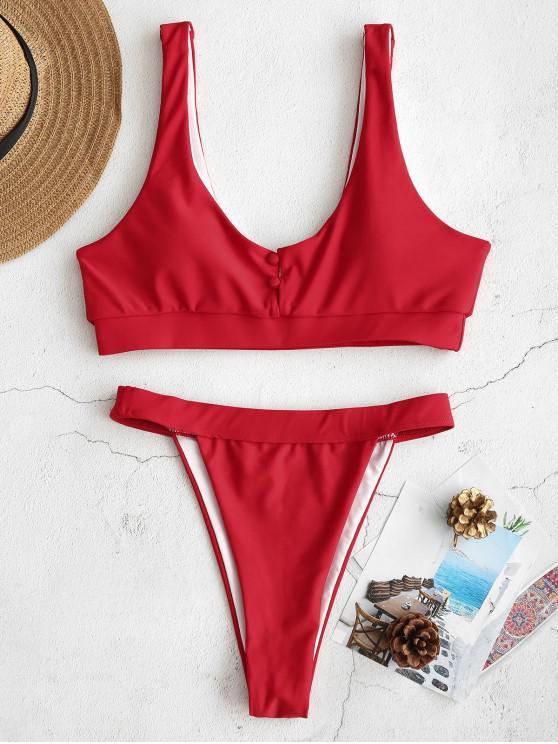 Ensemble de Bikini String avec Bouton Couvert - Rouge Lave L