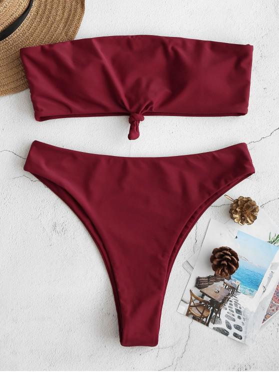 latest ZAFUL Knotted Bandeau Bikini Set - RED WINE M