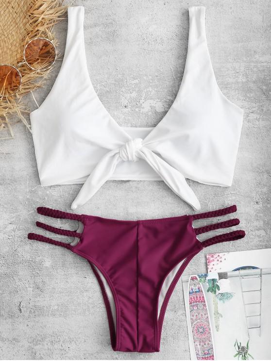 sale ZAFUL Knotted Braided Lattice Bikini Set - PLUM VELVET L