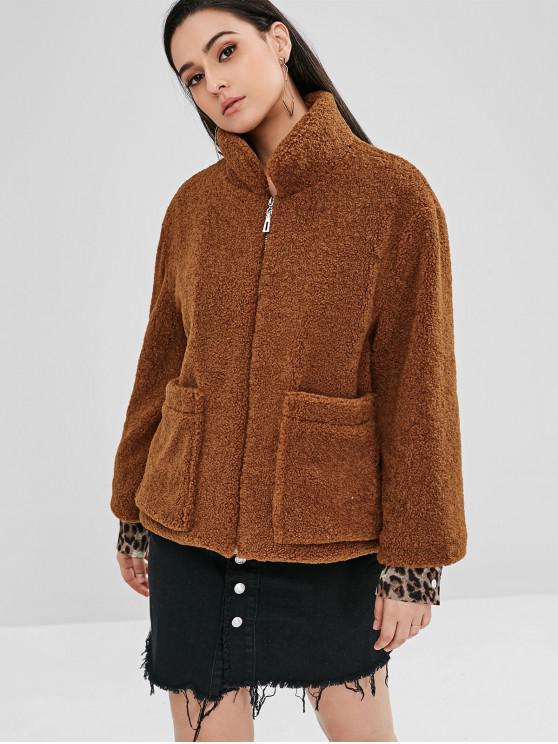 women ZAFUL Fluffy Faux Shearling Teddy Winter Coat - COFFEE XL