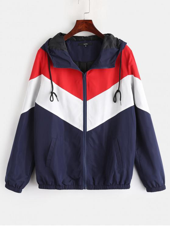 hot ZAFUL Zip Up Color Block Windbreaker Jacket - MULTI L