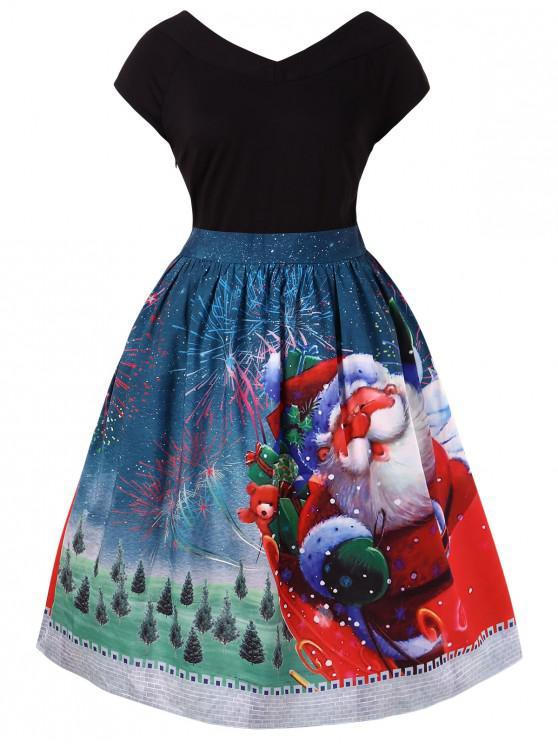 women's Plus Size Christmas V Neck Dress - MULTI L