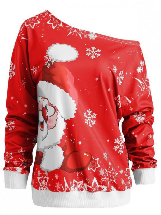 women Skew Neck Christmas Santa Claus Print Sweatshirt - RED XL