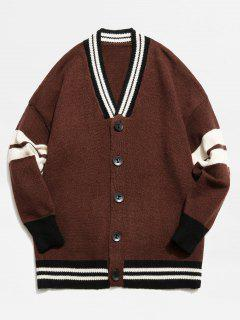Color Block Button Fly Knitted Cardigan - Coffee 3xl