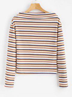 Camiseta Con Cuello Barco A Rayas - Multicolor