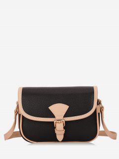Retro Color Block Crossbody Bag - Black