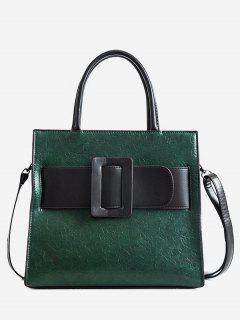 Vintage Buckle Color Block Handbag - Dark Green