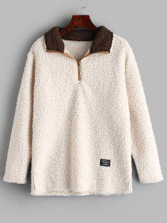 Half-zip Faux Shearling Sweatshirt - Warm White L