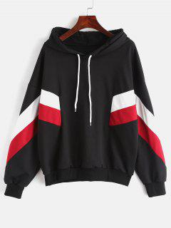 Drop Shoulder Patchwork Hoodie - Black Xl
