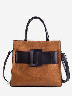 Vintage Buckle Color Block Handbag - Brown