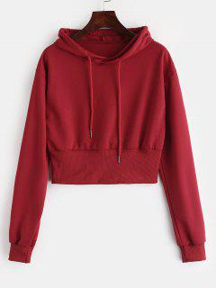 Ribbed Hem Cropped Hoodie - Red Wine M