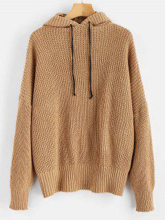 Tunic Oversized Drop Shoulder Sweater - Camel Brown
