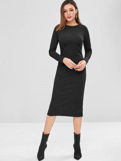 Long Sleeve Ribbed Pencil Midi Dress - Black S