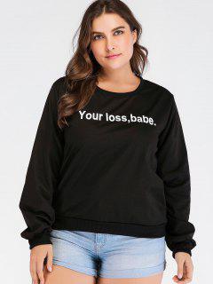Graphic Front Plus Size Sweatshirt - Black 1x