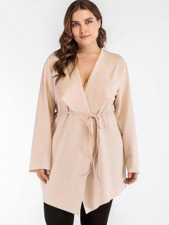 Belted Cascading Plus Size Trench Coat - Champagne 1x
