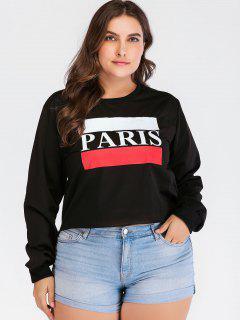 Graphic Pullover Plus Size Sweatshirt - Black 3x