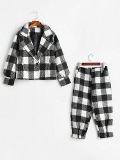Plaid Wollmischung Mantel Und Hose Set - Schwarz 2xl