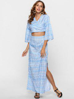 Crossover Crop Top And Maxi Skirt Co Ord Set - Day Sky Blue M