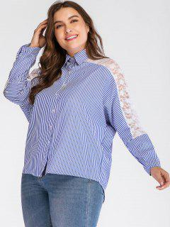 Striped Lace Panel Plus Size Shirt - Light Blue 2x