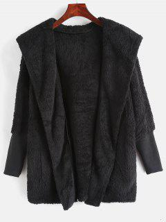 Dolman Sleeves Hooded Fluffy Coat - Black