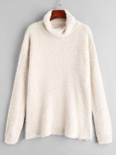 Suéter De Túnica De Cuello Alto Borroso - Blanco Cálido