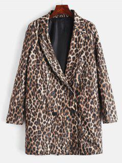 Button Up Pockets Leopard Coat - Leopard M