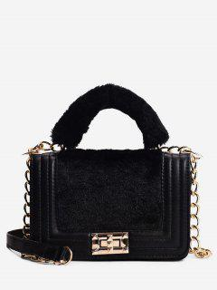 Faux Fur Panel Chic Crossbody Bag - Black