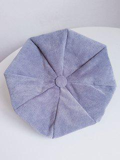 Solid Color Corduroy Beret - Blue Gray