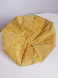 Solid Color Corduroy Beret - Sun Yellow
