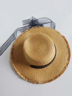 Vintage Wide Brim Flat Top Sun Hat - Cookie Brown
