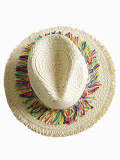 Stylish Wide Brim Fringed Straw Sun Hat - Beige