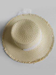 Vintage Wide Brim Flat Top Sun Hat - Light Khaki