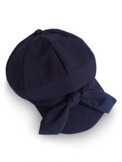 Elegant Large Bowknot Solid Color Beret - Black