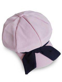Elegant Large Bowknot Solid Color Beret - Pink Rose