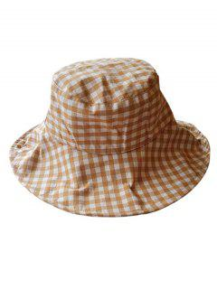 Outdoor Plaid Printed Sunscreen Hat - Camel Brown