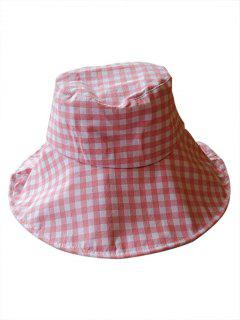 Outdoor Plaid Printed Sunscreen Hat - Light Pink