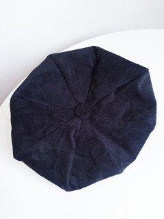 Solid Color Corduroy Beret - Black