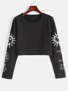 Sun Star Moon Crop Top - Noir L