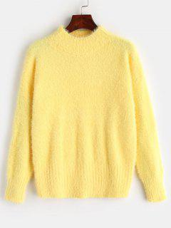 Mock Neck Fluffy Pullover Sweater - Yellow