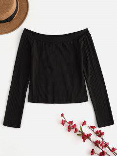 Long Sleeve Ribbed Off The Shoulder Top - Black M
